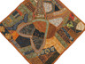 """Rust Brown Inspirational Wall Decoration - Unique Patchwork Tapestry Art Textile 38"""""""