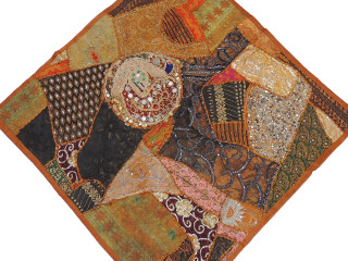 """Brown Decorative Indian Wall Hanging - Patchwork Square Beaded Tapestry Textile 38"""""""