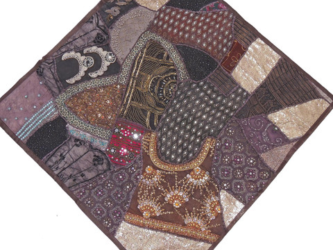 """Dark Chocolate Decorative Wall Hanging - Patchwork Square Beaded Tapestry Textile 38"""""""