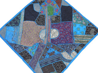 Maya Blue Decorative Wall Hanging - Patchwork Square Beaded Tapestry Textile 38""