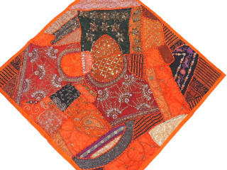 Orange Red Inspirational Wall Decoration - Unique Patchwork Tapestry Art Textile 38""