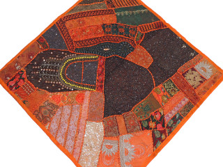 """Tangerine Decorative Indian Wall Hanging - Square Beaded Tapestry Textile 38"""""""