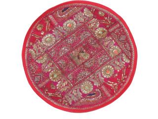 Magenta Large Round Floor Pillow Cover - Ethnic Seating Beaded Indian Cushion 26""