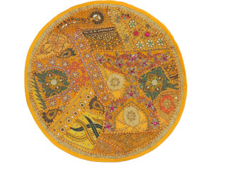 Yellow Round Sari Pillow Cover - Floor Seating Decorative Indian Cushion 26""