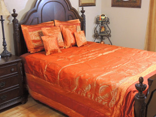 Orange Mandala India Inspired Bedding - Decorative Duvet King Bedspread Set
