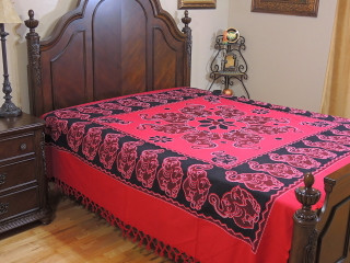 Cardinal Red Dancing Elephant Bedspread - Woven Cotton Tapestry Bedding ~ Full