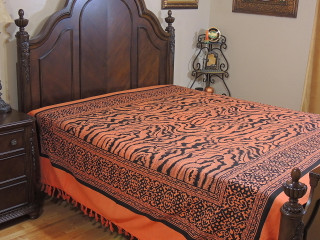 Fulvous Orange Tribal Pattern Bedspread - Woven Cotton Tapestry Bedding ~ Full