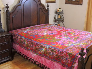 Hot Pink Tree of Life Bedspread - Woven Cotton Tapestry Bedding ~ Full