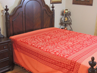 Coral Maroon Tribal Pattern Bedspread - Woven Cotton Tapestry Bedding ~ Full