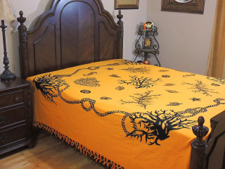 Sunglow Yellow Tribal Pattern Bedspread - Woven Cotton Tapestry Bedding ~ Full