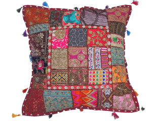 Bohemian Tapestry Floor Pillow Cover - Square Decorative Ethnic Euro Sham ~ 26 Inch