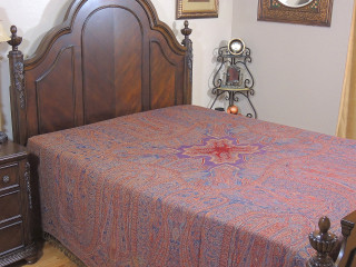 Blue Mahek Kashmir Wool Bedding - Reversible Woven Floral Decorative Bedspread ~ Queen