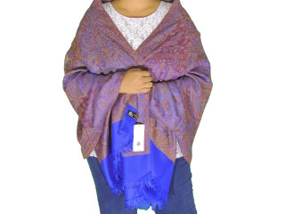 Purple Blue Floral Wool Shawl Wrap - Warm Jamawar Ladies Dress Scarf 78""
