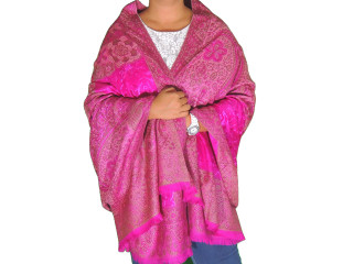 Magenta Wool Embroidered Fashion Shawl - Floral Cozy Special Occasion Wrap 80""