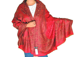 Maroon Wool Embroidered Formal Shawl - Paisley Warm Special Occasion Wrap 80""
