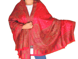 Maroon Wool Embroidered Fashion Shawl - Floral Cozy Special Occasion Wrap 80""