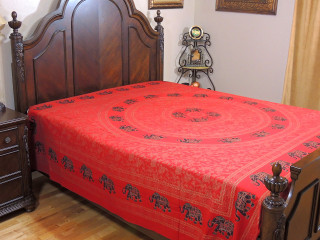 Red Gold Print Elephant Bed Sheet - Mandala Cotton Bedding Linens Tapestry ~ Full