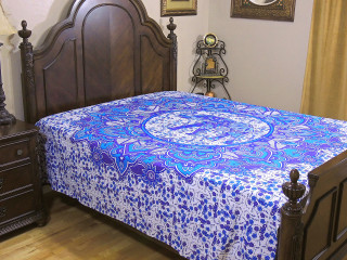 Purple Blue Elephant Tapestry Bed Sheet - Floral Cotton Bedding Linens ~ Full