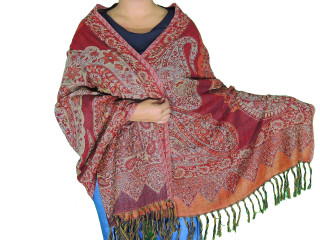 "Burgundy Paisley Wool Shawl Wrap - Warm Jamawar Ladies Dress Scarf 78"""