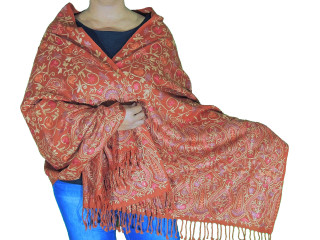 Tawny Brown Paisley Designer Kashmir Shawl - Ladies Embroidered Wool Dress Scarf 78""