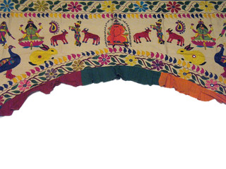 Vintage Artisan Embroidered Toran Huge Gate Valance Door Topper Wall Decor 82in