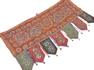 Handmade Doorway Topper India Decorative Embroidered Mirror Work Ethnic Valance
