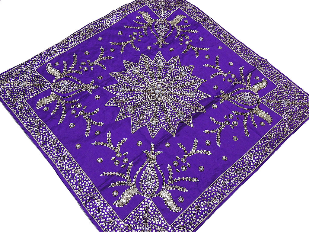 Embroidered Tablecloth U2013 Purple Decorative Table Overlay Indian Handicraft  Gift.