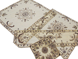 Designer Ecru Table Linens Set 5P Net Fabric Beaded Luxury Handmade Tablecloths