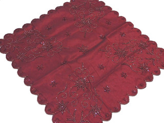 Elegant Burgundy Table Overlay Banquet Decorative Tablecloth Bead Work India