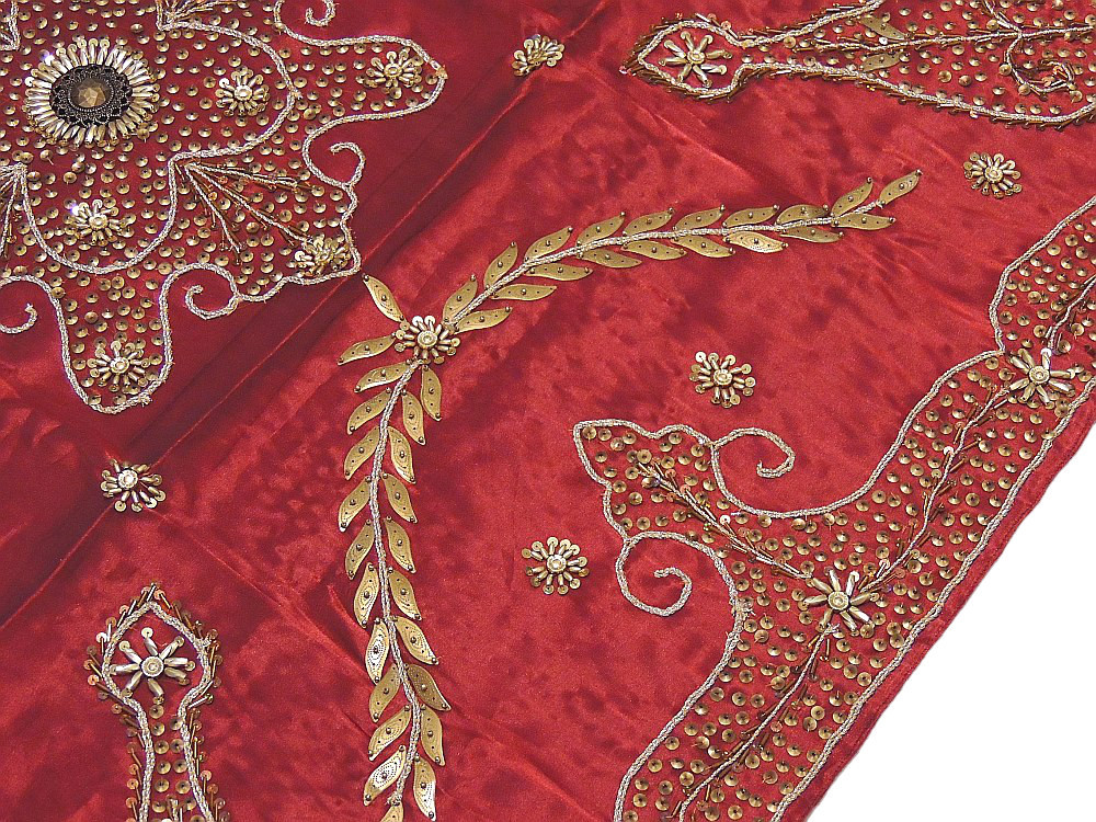 Nice Burgundy Embroidered Square Tablecloth Banquet Gold Beaded Table Linen  Cover; Image 2; Image 3 ...