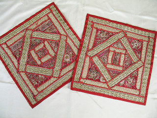 2 Red Indian Home Decor Designer Bed Pillows Cushions