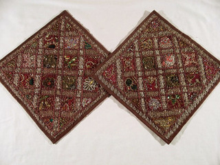 2 Indian Russet Kundan Bedroom Decor Pillows Cushions