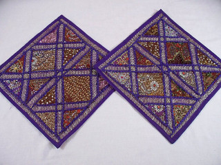 2 Purple Embroidered Kundan Indian Sari Cushion Covers