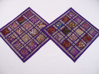 2 Purple Cushion Covers Embroidered Kundan Indian Sari Handmade Pillowcases