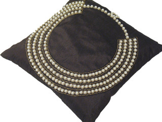 Chocolate Indian Inspired Pillow Pearl Work Decorator Couch Throw Cushion 14in