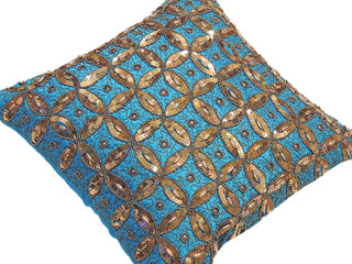 Blue Sequin Decorative Cushion Indian Decor Eclectic Square Sofa Pillow 16in