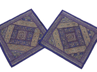 2 Purple Rajasthan Handicraft Decorating Pillowcases Zari Embroidery Work 16in
