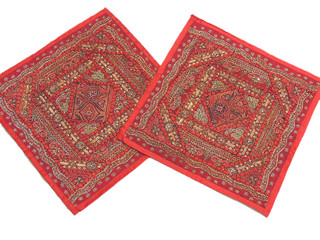 Red Home Decor Cushions Indian Designer Bed Tapestry 2 Sari Patchwork Pillows