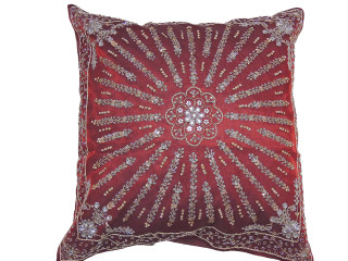 Burgundy Decorative Beaded Floor Pillow Cover - Ethnic Indian Euro Sham 24""
