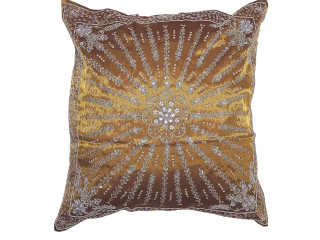 Amber Stylish Beaded Floor Pillow Cover - Handmade Unique Dazzling Euro Sham 24""