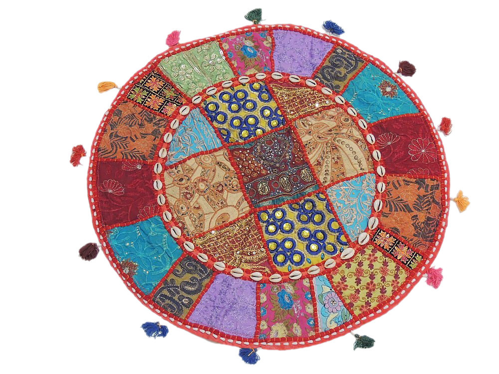 decorative round pillow case embroidered floor bed colorful indian cushion 24in