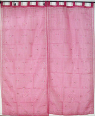 2 Pink Sari Designer India Window Curtains Sheer Panels