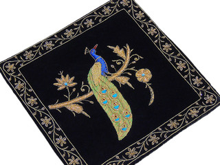 Black Decorative Peacock Pillowcase Dabka Handmade Couch Velvet Ethnic Cushion