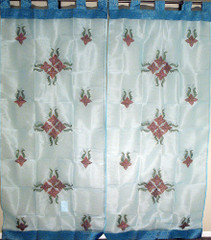 Blue Decorative Window Curtains Living Room 2 Panels Sheers from India