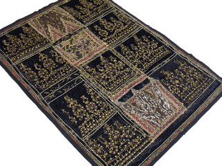 India Inspired Ethnic Tapestry Black Decorative Large Wall Hanging Vintage Style