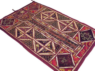Decorative Maroon Antique Tapestry Handcrafted Velvet Wall Hanging Art Textile