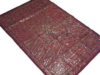 Big Indian Wall Hanging Living Room Maroon Decoration Sari Tapestry Sequin Work