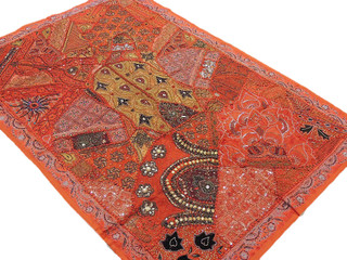 Orange Handcrafted Wall Decoration Ethnic Patchwork Indian Handicraft Tapestry