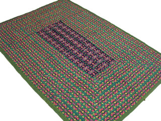 Embroidered Fabric Wall Hanging Unique India Patchwork Textile Green Large Throw