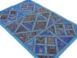 Blue India Textile Tapestry Home Decorating Traditional Wall Hanging Patchwork